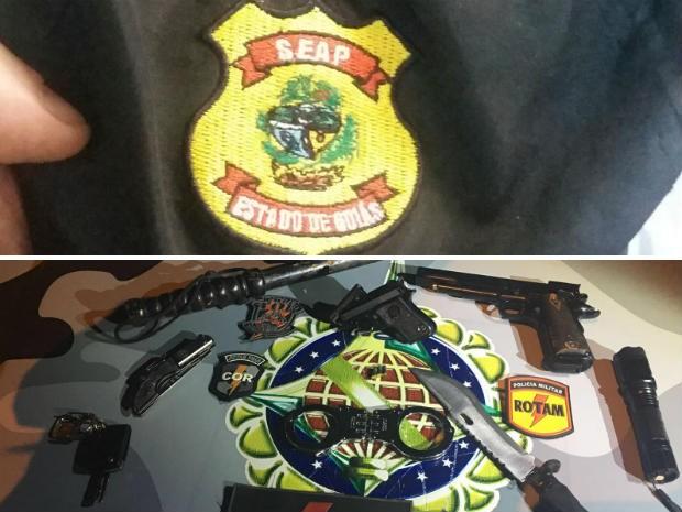 Distintivo forjado e armas apreendidas com falso agente penitenciário no DF (Foto: Polícia Militar/Divulgação)