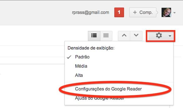 Acesse as configurações do Google Reader (Foto: Reprodução)