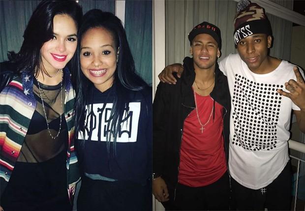 Bruna Marquezine e Neymar posam com fãs em festa (Foto: Reprodução/Instagram)