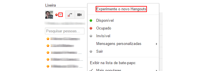 Mudança para o Hangouts não requer confirmação (Foto: Reprodução/Gmail)
