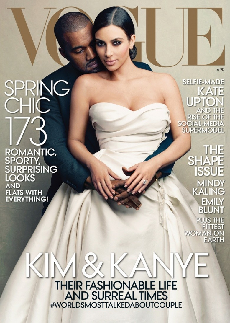 Kim Kardashian e Kanye West na capa da 'Vogue' (Foto: Reprodução)