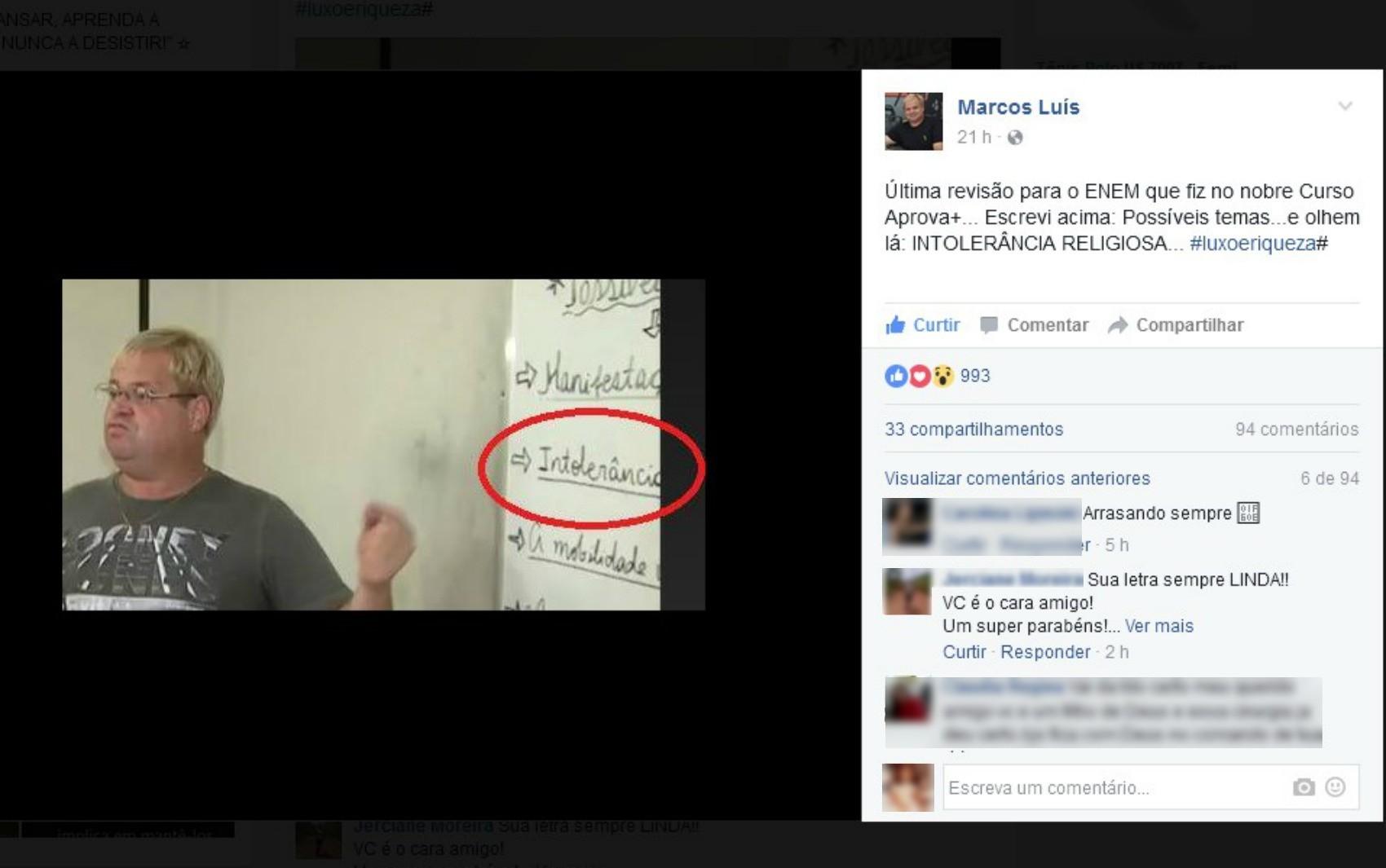 Professor do Acre acertou tema de redação do Enem 2016 (Foto: Reprodução/Facebook)