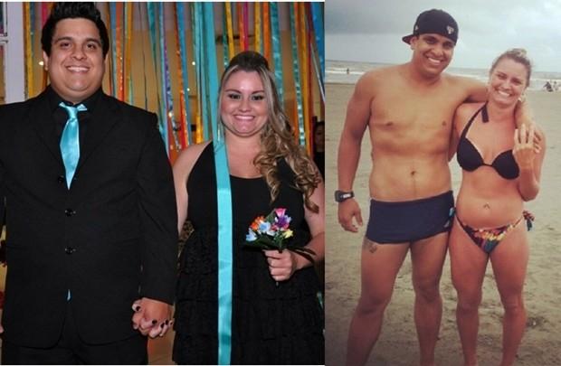 Casal em dois momentos: antes da dieta e hoje, um ano depois, com peso ideal (Foto: Divulgação / Arquivo Pessoal)