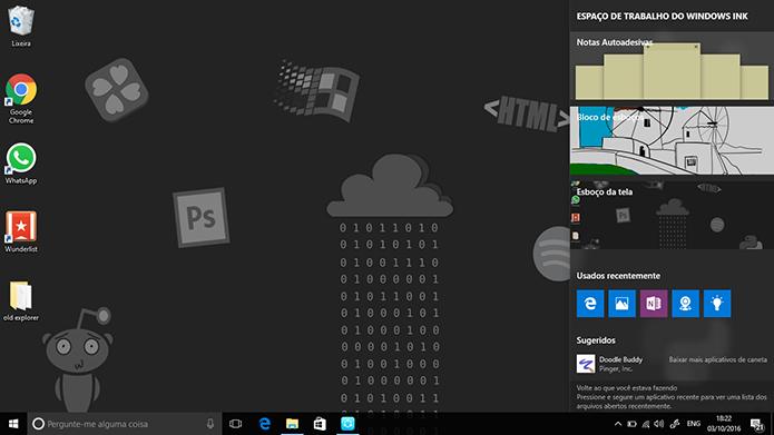 Windows Ink é uma central voltada para canetas stylus no Windows 10 (Foto: Reprodução/Elson de Souza)
