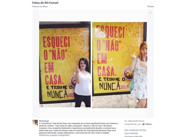 Internauta divulgou protesto contra campanha da Skol, acusando a marca de apologia ao estupro.  (Foto: Reprodução/Facebook)