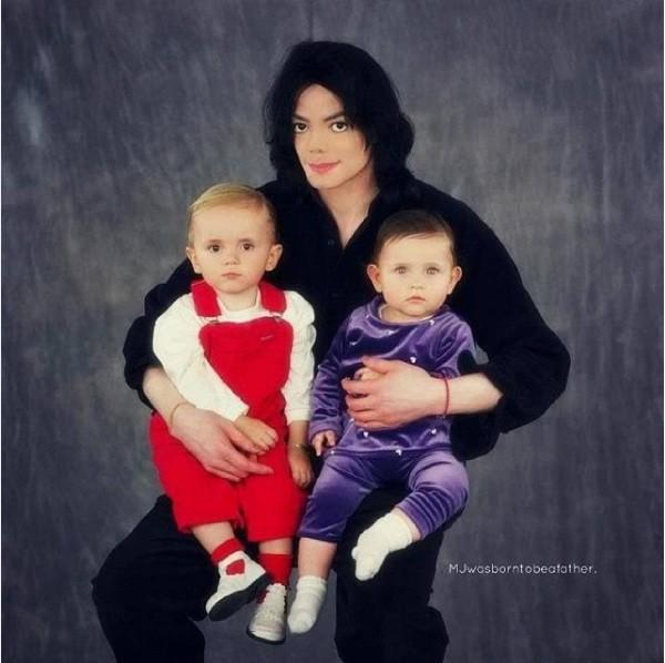 O cantor Michael Jackson e seus dois filhos com a enfermeira Debbie Rowe, Paris Jackson e Prince Jackson (Foto: Instagram)