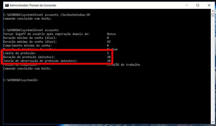 Veja que as configurações já aparecem no net accounts (Foto: Reprodução/Filipe Garrett)