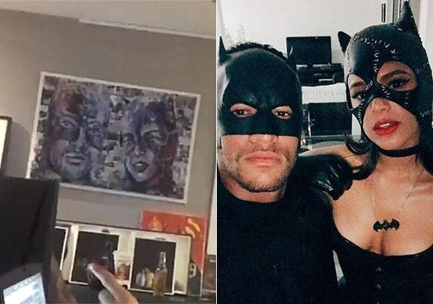 Quadro afixado na parede da casa de Neymar na França (Foto: Reprodução/Instagram)