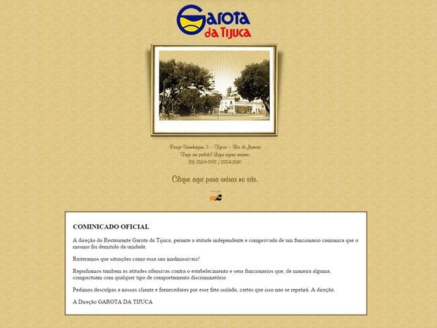 Site do Garota da Tijuca, no Rio, anuncia demissão de gerente (Foto: Reprodução / Internet)