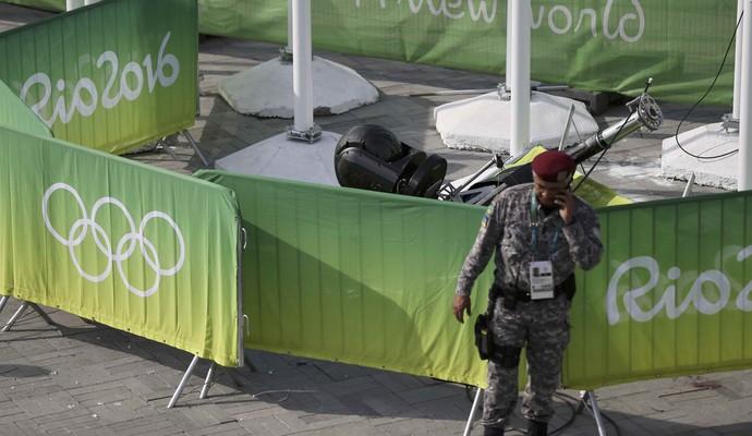 Acidente câmera parque olímpico Rio 2016 (Foto: Reuters)