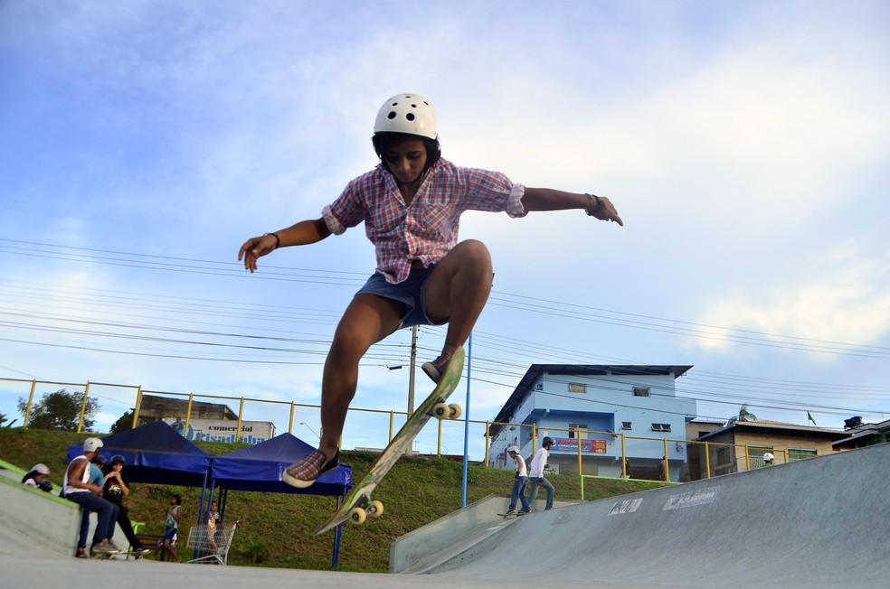 Campeonato interno promove competição entre nova geração do skate do Amazonas (Foto: Mauro Neto/Sejel)