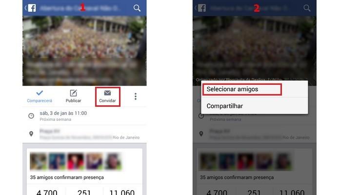 À esquerda, destaque para botão convidar na tela principal do evento. À direita, caixa com opção Selecionar amigos destacada (Foto: Reprodução/Raquel Freire)