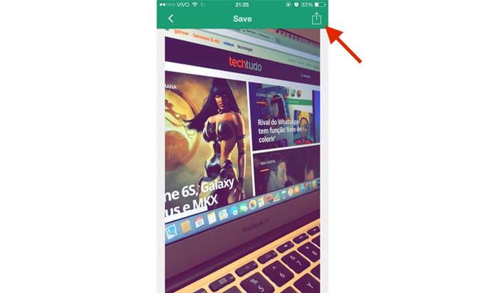 Para salvar o snap recebido, clique no ícone conforme aponta a seta vermelha (Gabriella Fiszman/ TechTudo)