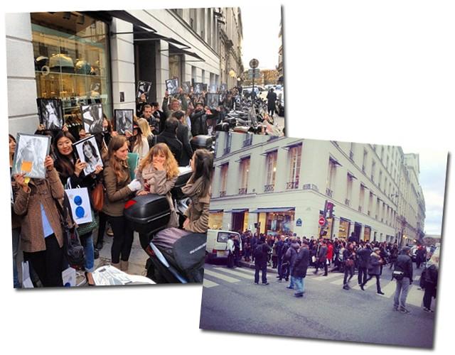 O aglomerado de fãs e fashionistas na porta na megastore à espera da top (Foto: Reprodução/Instagram)