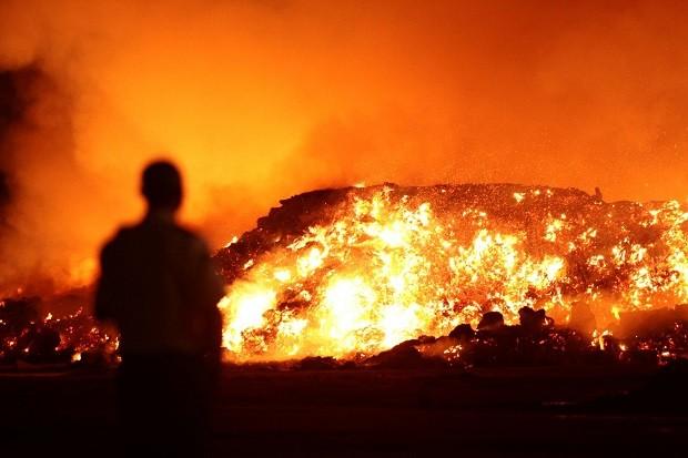 Toneladas de palha de cana foram destruídas pelo fogo (Foto: Jonathan Lins/G1)