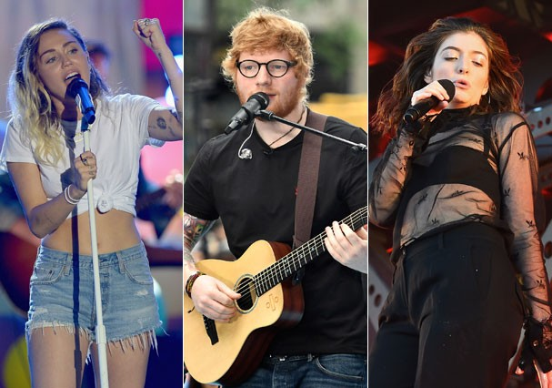 Miley Cyrus, Ed Sheeran e Lorde (Foto: Getty Images)