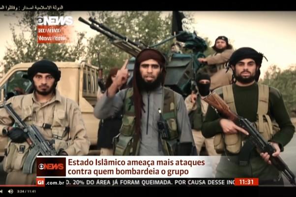 Estado Islâmico ameaçou Estados Unidos e países que participam de bombardeios aéreos na Síria (Foto: Reprodução/Globo News)