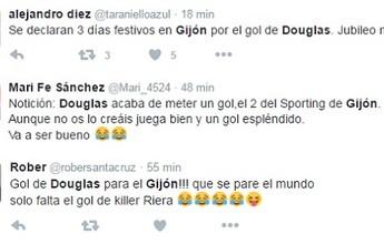 Ex-são-paulino Douglas marca primeiro gol no futebol espanhol, e Gijón vence