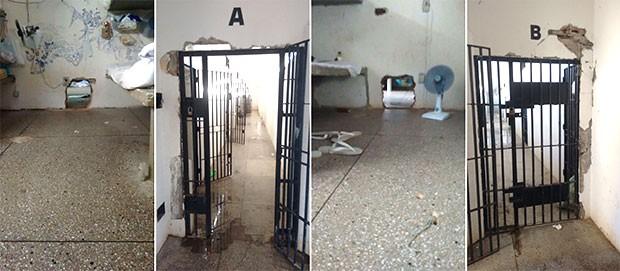 Em Alcaçuz, buracos foram abertos interligando celas e grades quase foram arrancadas das paredes (Foto: GOE/Grupo de Operações Especiais)