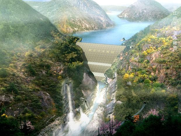 Ilustração mostra como ficará a represa de Shuangjiangkou, que será instalada no centro da China (Foto: Divulgação/Chidi)