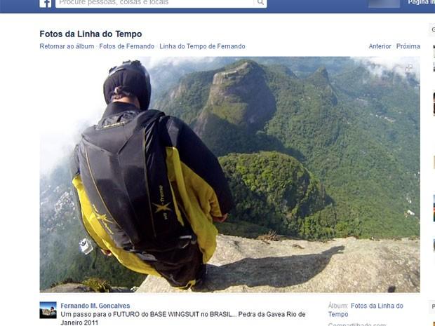 Fernando Gonçalves já tinha saltado da Pedra da Gávea em 2011 (Foto: Reprodução / Facebook)