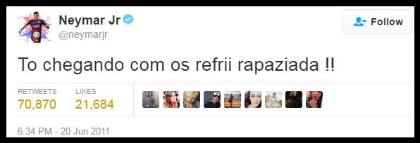 Neymar no Twitter: um dos grandes tesouros da internet brasileira (Foto: Reprodução/Twitter)