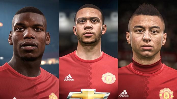 Fifa 17 exibe os atletas Paul Pogba, Memphis Depay e Jesse Lingard do Manchester United recriados digitalmente (Foto: Divulgação/EA Sports)