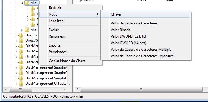 Acessando e criando uma nova chave em HKEY_CLASSES_ROOT\Directory\shell (Foto: Reprodução/Edivaldo Brito)