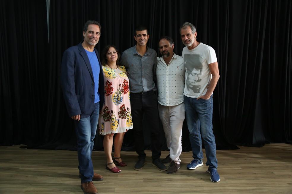 Maurício Farias, Gabriela Amaral, Marcius Melhem, Celso Taddei e Mauro Farias na coletiva  (Foto: Isabella Pinheiro/Gshow)