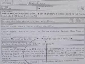 Certidão de óbito (Foto: Clemilson Rodrigues/Ojaruense)