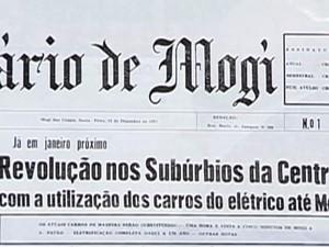 Primeira manchete do jornal O Diário de Mogi, fundado por Tote. (Foto: Reprodução/ TV Diário)