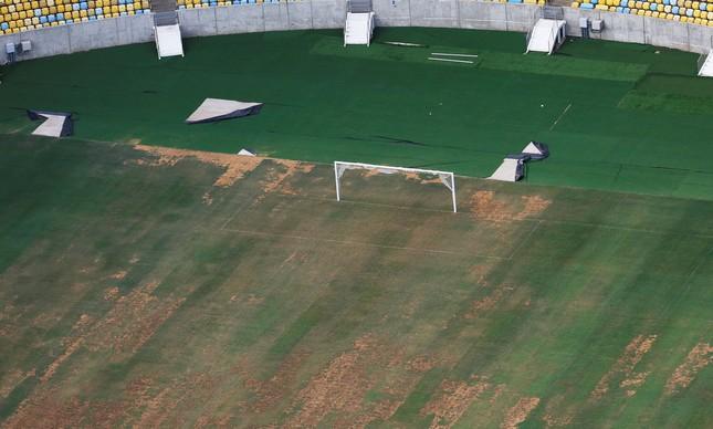 O gramado do estádio do Maracanã. Estádio vem sofrendo com roubos