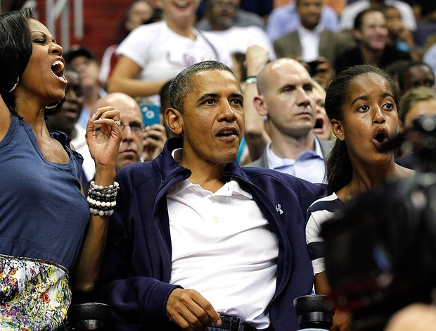Michelle Obama e Barack Obama, basquete, Brasil x Estados Unidos (Foto: Ag&#234;ncia AP)