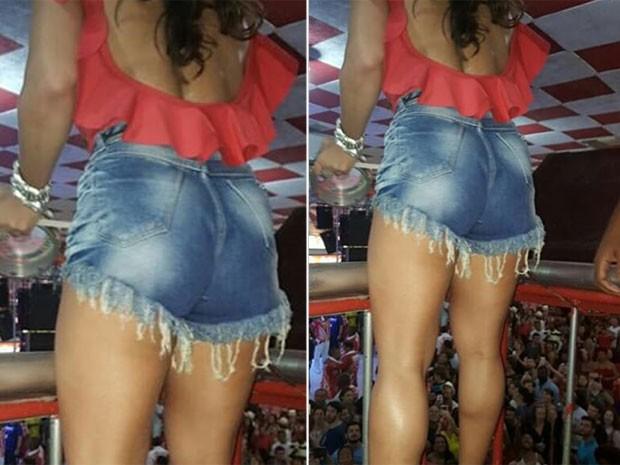 Viviane Araújo usa shortinho jeans em evento na quadro do Salgueiro, na Zona Norte do Rio (Foto: Instagram/ Reprodução)