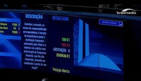 Telão do Senado anuncia decisão pelo impeachment de Dilma Rousseff (Foto: Reprodução)
