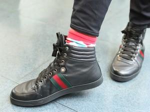 Lulu sempre estiloso com suas meias (Foto: Isabella Pinheiro/TV Globo)