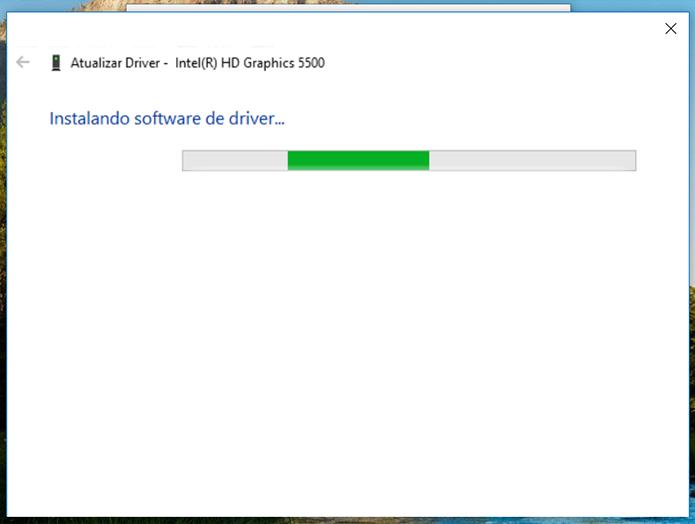 Com o driver localizado, o Windows vai iniciar a atualização (Foto: Reprodução/Filipe Garrett)