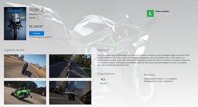 Página de Ride 2 na Xbox Store (Foto: Reprodução/André Mello)