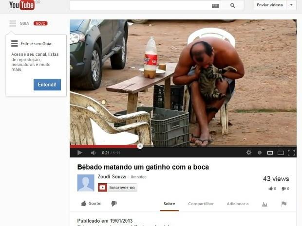Vídeo flagra homem chupando sangue da cabeça de gato no Amazonas (Foto: Reprodução)