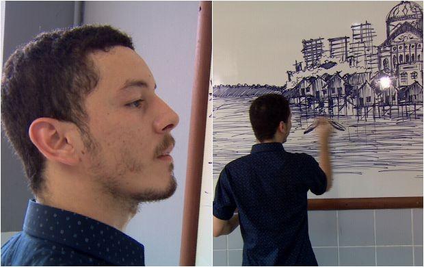 Apenas lápis e caneta são utilizadas pelo artista (Foto: Amazônia Revista)