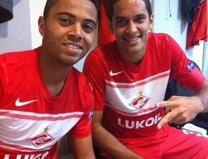 Rafael Carioca e Rômulo no vestiário do Spartak (Foto: Divulgação)