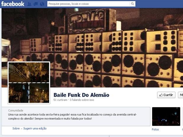 Página no Facebook convoca para baile funk na UPP do Alemão (Foto: Reprodução/Facebook)