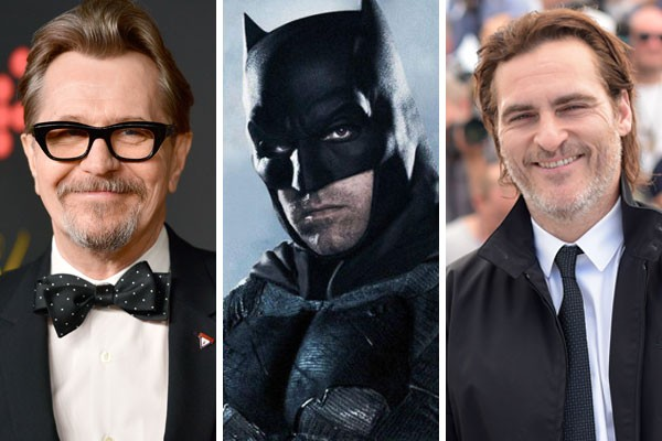 Gary Oldman, Ben Affleck como Batman e Joaquin Phoenix (Foto: Getty Images/Divulgação)