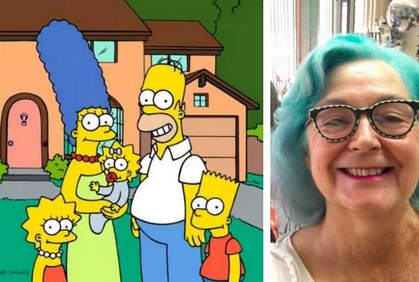 Os Simpsons e a roteirista e ilustradora Mimi Pond (Foto: Reprodução/Facebook)