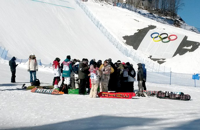 treino snowboard em Sochi (Foto: Leo Velasco)