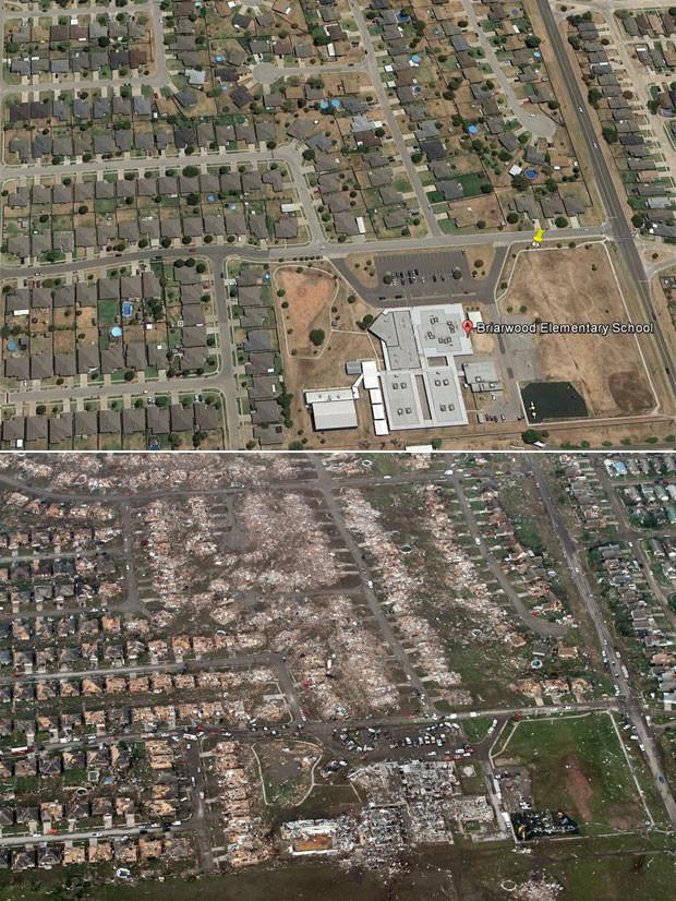 Casas do bairro e a própria escola primária Briarwood, no canto direito inferior das fotos, é vista em Moore, Oklahoma, em imagem do Google Earth (cima) e após a devastação causada pela passagem de um tornado (Foto: Reprodução/Google Earth e Steve Gooch/AP)