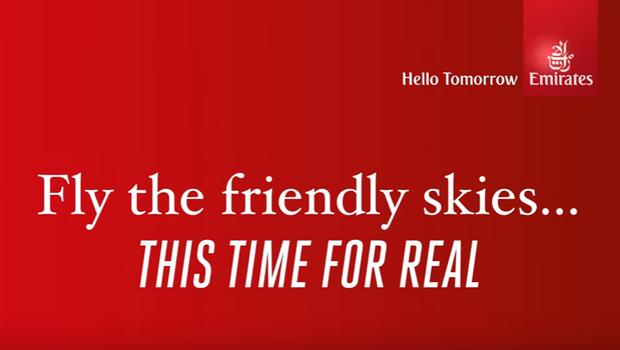 Emirates zomba de slogan da United em vídeo (Foto: Reprodução/YouTube)