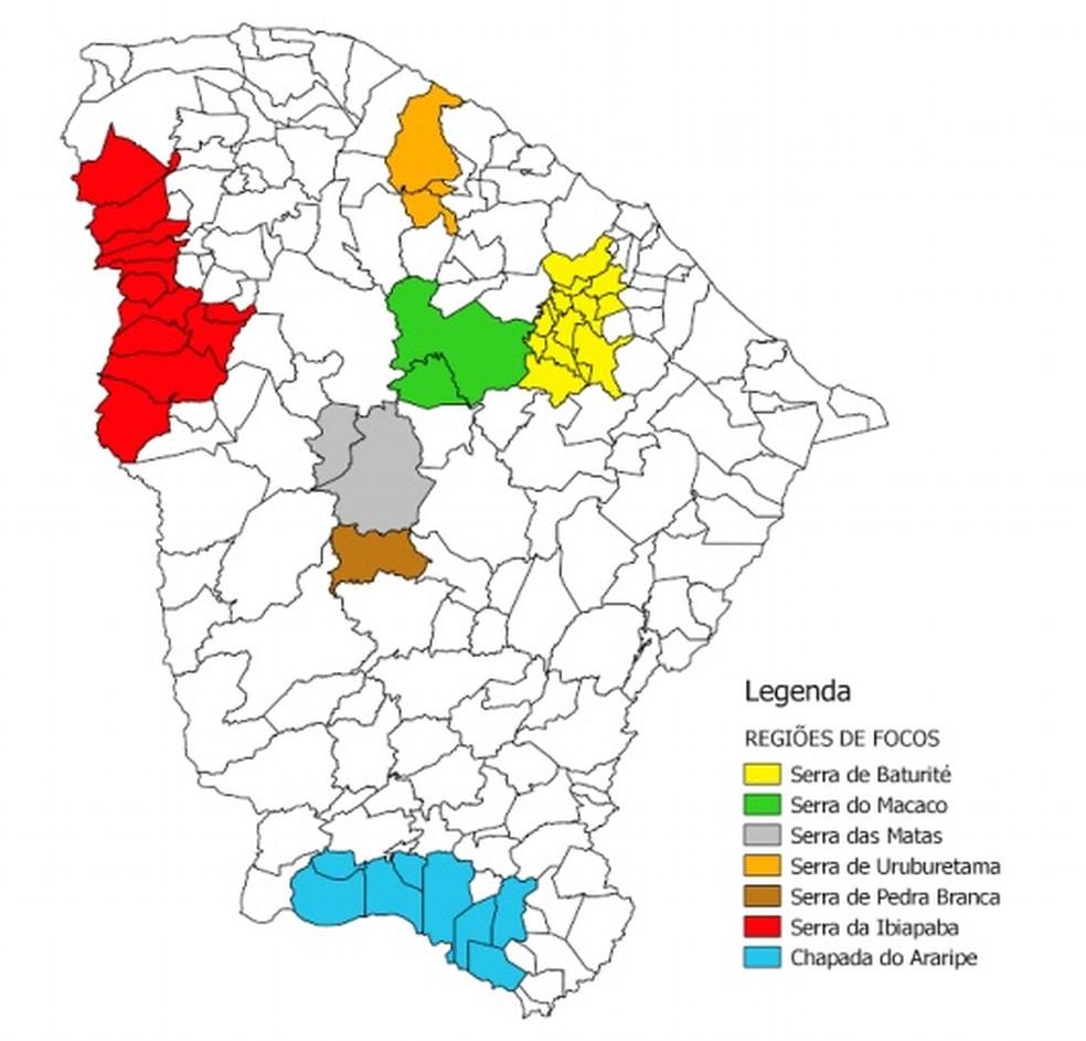 Cidades do Ceará com focos de peste, de acordo com a Secretaria da Saúde do Ceará (Foto: Reprodução)