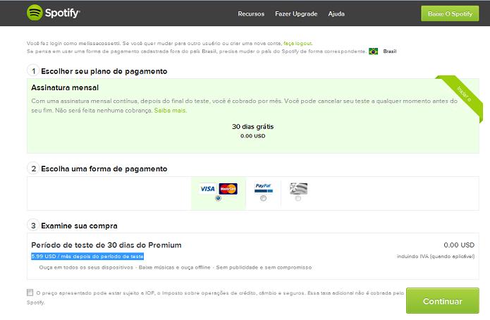 Spotify ainda não tem preço em reais no site (Foto: Reprodução/Melissa Cosseti)