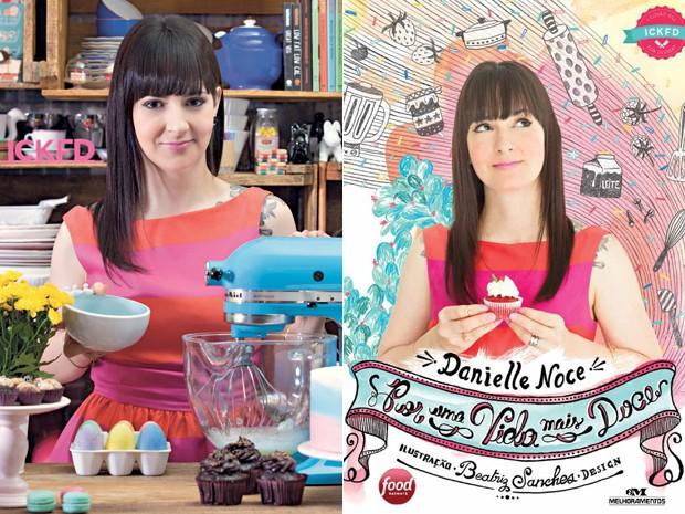 Danielle Noce e, à dir., a capa de seu livro (Foto: Divulgação)